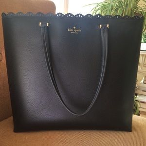 Kate Spade Leather Scalloped Lace Tote